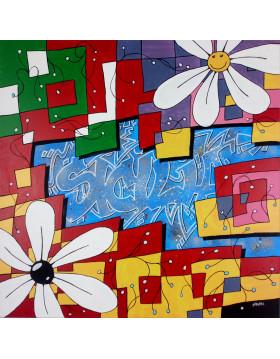 TABLEAU ARTISTE PEINTRE GRAFFITI SICILIA PK29